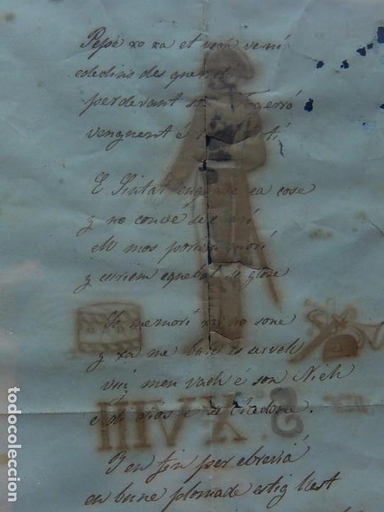 Militaria: Soldado Infantería. Antiguo dibujo soldado, con lo que parece una poesía o escrito. Desconozco Época - Foto 9 - 155358246