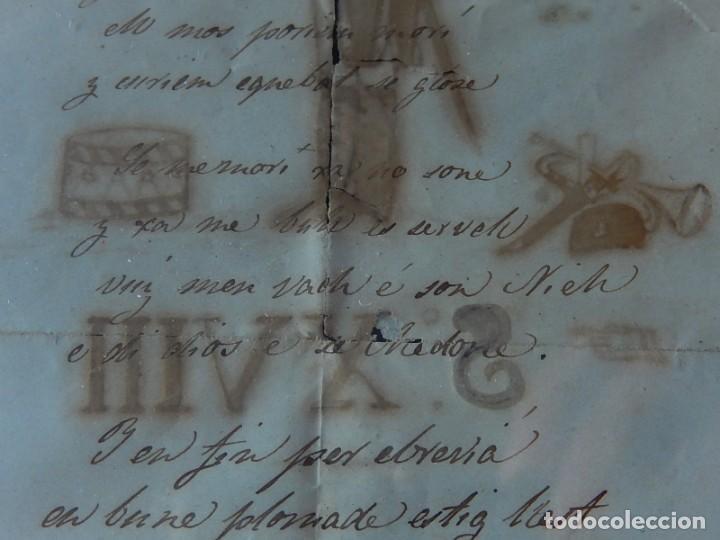 Militaria: Soldado Infantería. Antiguo dibujo soldado, con lo que parece una poesía o escrito. Desconozco Época - Foto 13 - 155358246