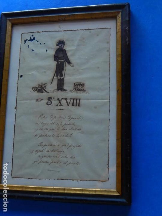 Militaria: Soldado Infantería. Antiguo dibujo soldado, con lo que parece una poesía o escrito. Desconozco Época - Foto 16 - 155358246