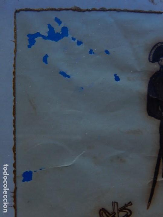 Militaria: Soldado Infantería. Antiguo dibujo soldado, con lo que parece una poesía o escrito. Desconozco Época - Foto 18 - 155358246