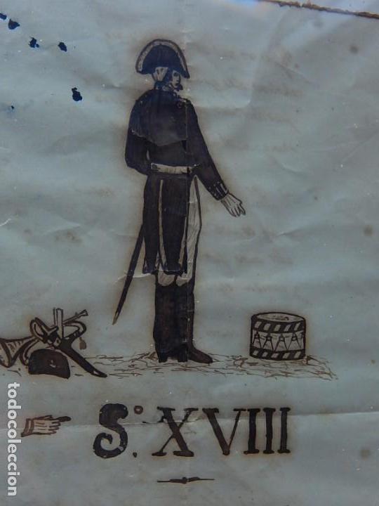 Militaria: Soldado Infantería. Antiguo dibujo soldado, con lo que parece una poesía o escrito. Desconozco Época - Foto 19 - 155358246
