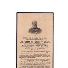 Militaria: RECORDATORIO.- TENIENTE GENERAL D.CÉSAR DE VILLAR Y VILLATE. BILBAO. 1917. Lote 155453014