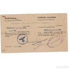 Militaria: DIVISION AZUL CERTIFICADO PROVISIONAL. RARO SELLO MEDALLA CAMPAÑA ENTREGADA. RUSIA. Lote 155461986