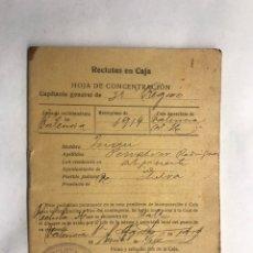 Militaria: MILITAR. VALENCIA. RECLUTAS EN CAJA. HOJA DE CONCENTRACIÓN (A.1919) VECINO DE ALPUENTE. Lote 155491920