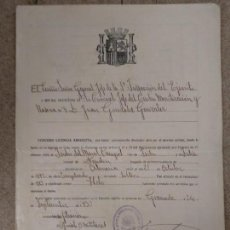 Militaria: CERTIFICADO LICENCIA SERVICIO MILITAR REPUBLICA. Lote 155493610