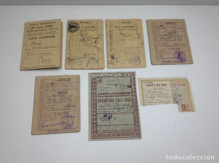 SABADELL - CARTILLAS DE RACIONAMIENTO DE UN REFUGIADO O EXILIADO ESPAÑOL EN PARIS AÑOS 40 - FRANCIA (Militar - Propaganda y Documentos)