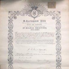 Militaria: NOMBRAMIENTO DE COMENDADOR DE LA ORDEN DE ALFONSO XIII. AÑO 1893. MEDIDAS APROX. 63X44.5 CM.. Lote 155741206