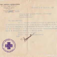Militaria: 1838 VALENCIA CARTA CENTRAL SANITARIA INTERNACIONAL AYUDA ESPAÑA REPUBLICANA. GUERRA CIVIL REPUBLICA. Lote 155750194