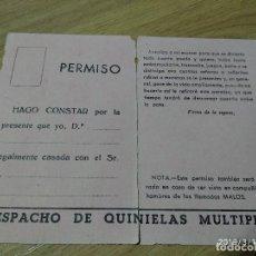 Militaria: ANTIGUA TARJETA PROPAGANDA DE DESPACHO DE QUINIELAS, SINDICATO MACHOTADA PARA CASADOS, ESTA PARTIDO. Lote 155827706