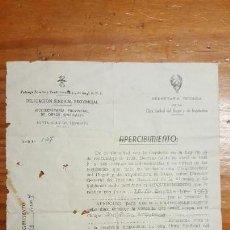 Militaria: DURO DOCUMENTO DE FALANGE POR EL QUE SE NOTIFICA LA EXPROPIACIÓN DE VIVIENDA. LEER DESCRIPCIÓN BIEN.. Lote 155996346