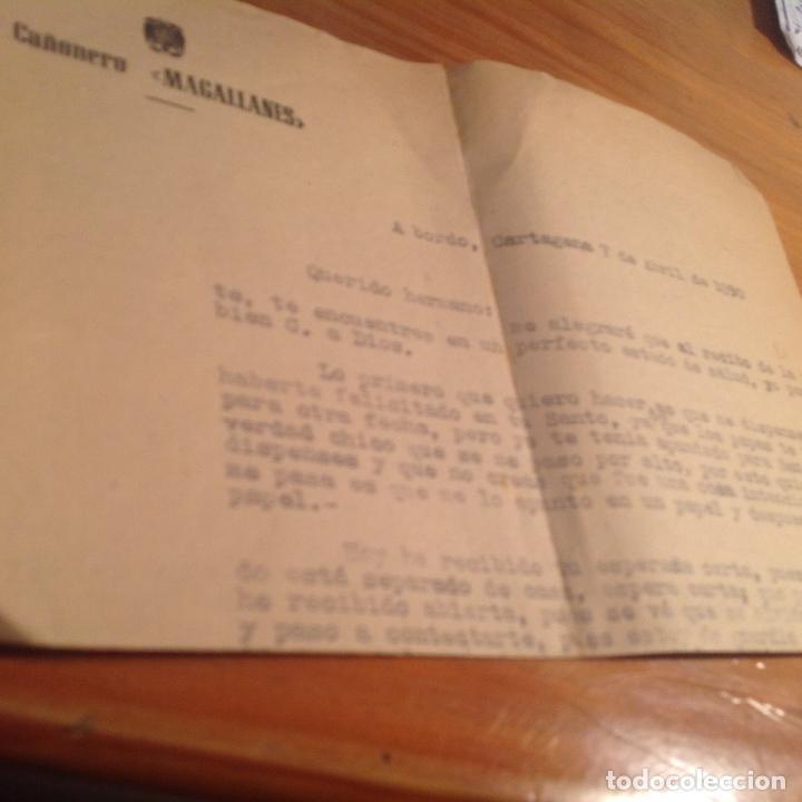Militaria: Cañonero Magallanes. Correspondencia tripulante,membrete ofial barco. 1950. Cartagena. - Foto 2 - 156005298