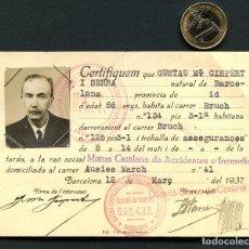 Militaria: GUERRA CIVIL, CARNET, CERTIFICAT DE TREBALL, BARCELONA, CNT, UGT, 1937. Lote 156649342