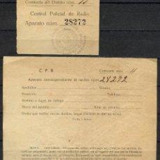 Militaria: GUERRA CIVIL, TIQUET Y DOCUMENTO, CONTROL POLICIAL DE RADIO. Lote 156660958