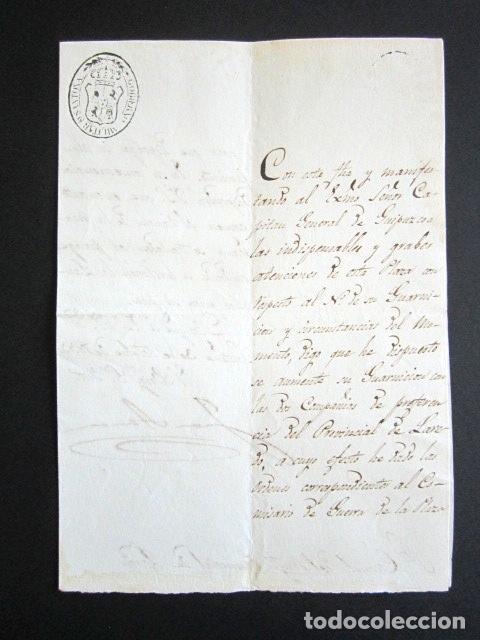 AÑO 1833. SANTOÑA. CANTABRIA. GUERRA CARLISTA. CAPITÁN GENERAL DE GUIPUZCOA. COMISARIO DE GUERRA. (Militar - Propaganda y Documentos)