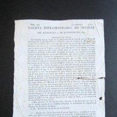 Militaria: AÑO 1815. BANDO. GACETA DE MADRID. MARISCAL DE CAMPO JUAN DÍAZ PORLIER SE ALZA CONTRA FEERNANDO VII. Lote 157204790