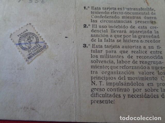 Militaria: CNT. CREDENCIAL MILITANTE. INDUSTRIA CATALUÑA. 1945. CON TAMPONES Y VIÑETA CUOTA CONFEDERAL - Foto 2 - 157326298