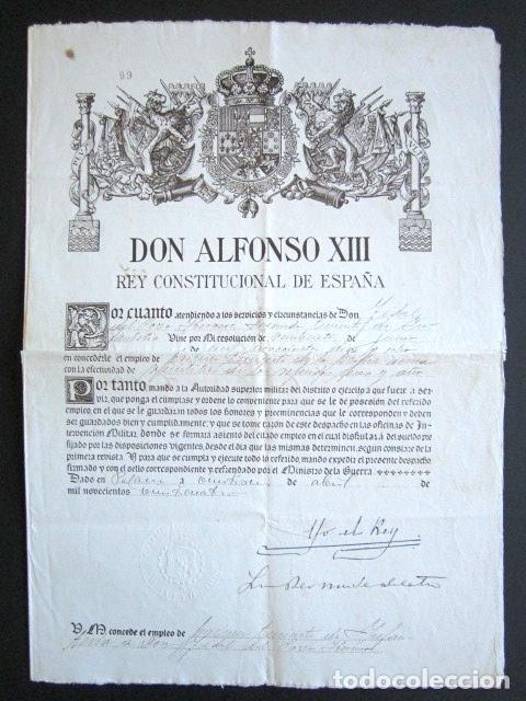 AÑO 1924. TÍTULO DE TENIENTE FIRMADO POR EL REY ALFONSO XIII. YO EL REY. (Militar - Propaganda y Documentos)