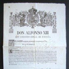 Militaria: AÑO 1924. TÍTULO DE TENIENTE FIRMADO POR EL REY ALFONSO XIII. YO EL REY.. Lote 157353502