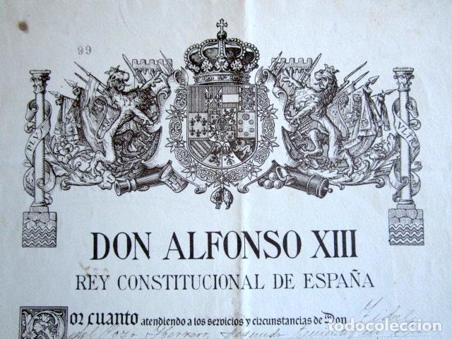 Militaria: AÑO 1924. TÍTULO DE TENIENTE FIRMADO POR EL REY ALFONSO XIII. YO EL REY. - Foto 3 - 157353502