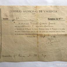Militaria - MILITAR. Hoja de citación. Consejo Municipal de Valencia. Reemplazo de 1937 - 157384706