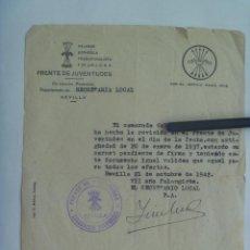 Militaria: FRENTE DE JUVENTUDES - FALANGE: CERTIFICADO DE MILITANTE DESDE 1937. SEVILLA, 1942. Lote 157767034