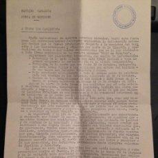 Militaria: DOCUMENTO JUNTA DE GOBIERNO PARTIDO CARLISTA OCTUBRE 1972 - CARLISMO, REQUETES. Lote 157961286