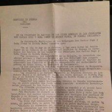 Militaria: NOTA DE PRENSA PARTIDO CARLISTA BAUTIZO HIJOS DON CARLOS HUGO Y DOÑA IRENE DE BORBON- OCTUBRE 1972. Lote 157961670