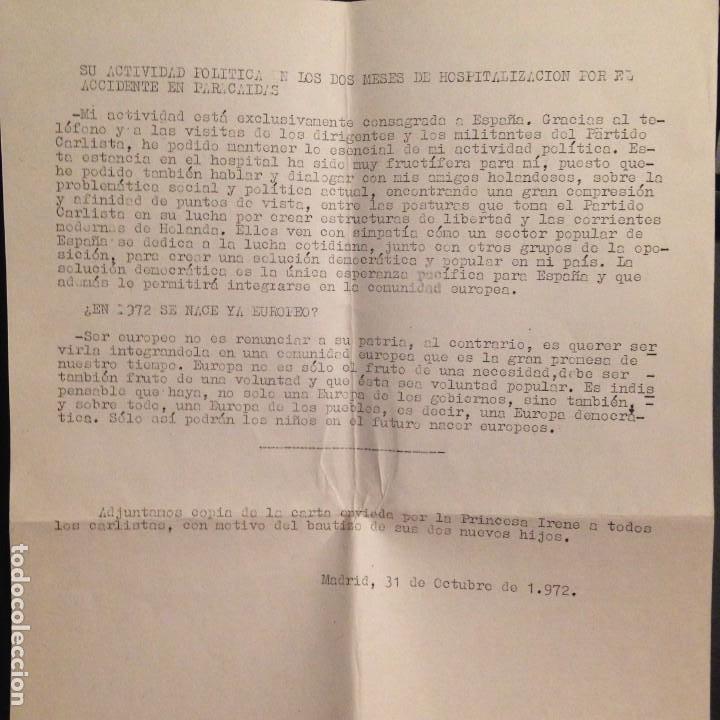 Militaria: NOTA DE PRENSA PARTIDO CARLISTA RUEDA DE PRENSA DON CARLOS HUGO - OCTUBRE 1972 CARLISMO, REQUETES - Foto 2 - 157961966