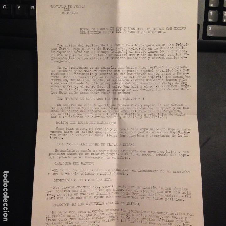 NOTA DE PRENSA PARTIDO CARLISTA RUEDA DE PRENSA DON CARLOS HUGO - OCTUBRE 1972 CARLISMO, REQUETES (Militar - Propaganda y Documentos)