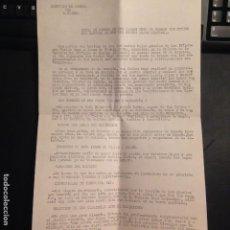 Militaria: NOTA DE PRENSA PARTIDO CARLISTA RUEDA DE PRENSA DON CARLOS HUGO - OCTUBRE 1972 CARLISMO, REQUETES. Lote 157961966