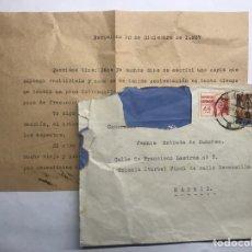Militaria: GUERRA CIVIL ESPAÑOLA. DICIEMBRE DE 1937. CARTA FRANQUEADA BARCELONA A MADRID COLONIA ITURBE. Lote 158181537