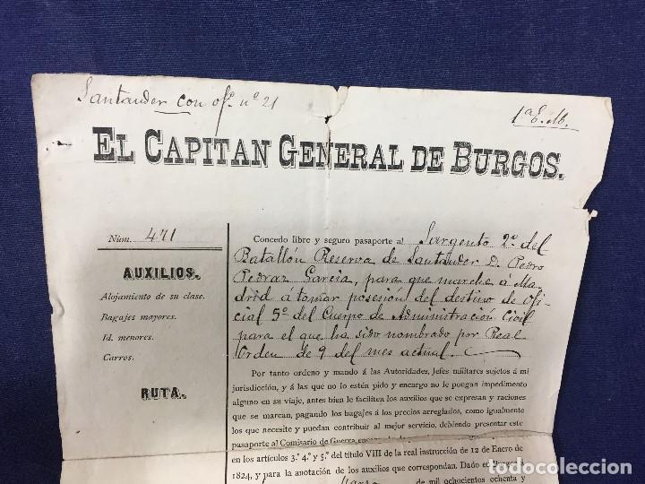 Militaria: capitan general de burgos 1887 pasaporte a sargento 2º batallon reserva santander madrid 29,5x20 - Foto 2 - 158214214