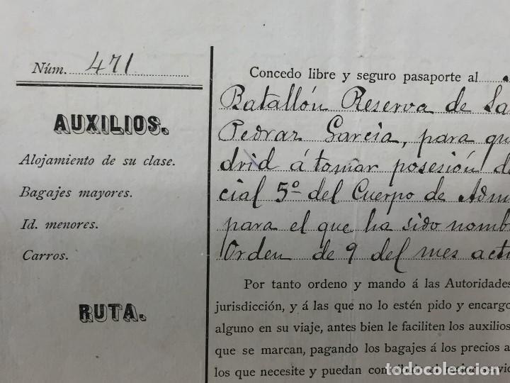 Militaria: capitan general de burgos 1887 pasaporte a sargento 2º batallon reserva santander madrid 29,5x20 - Foto 3 - 158214214