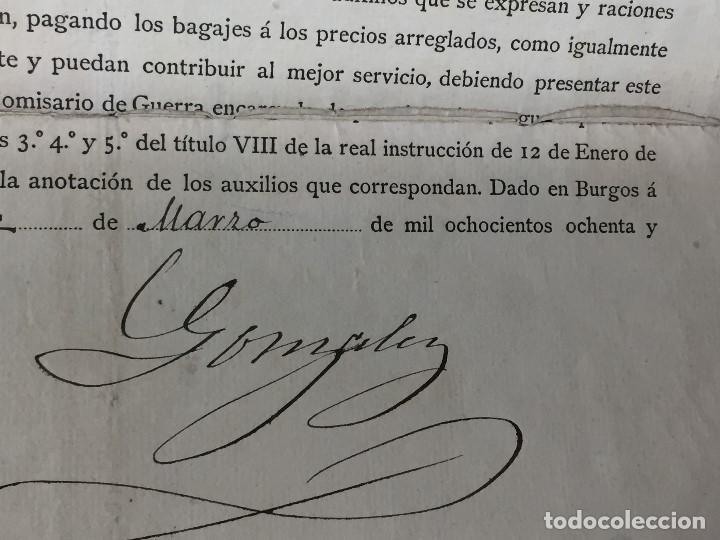 Militaria: capitan general de burgos 1887 pasaporte a sargento 2º batallon reserva santander madrid 29,5x20 - Foto 4 - 158214214