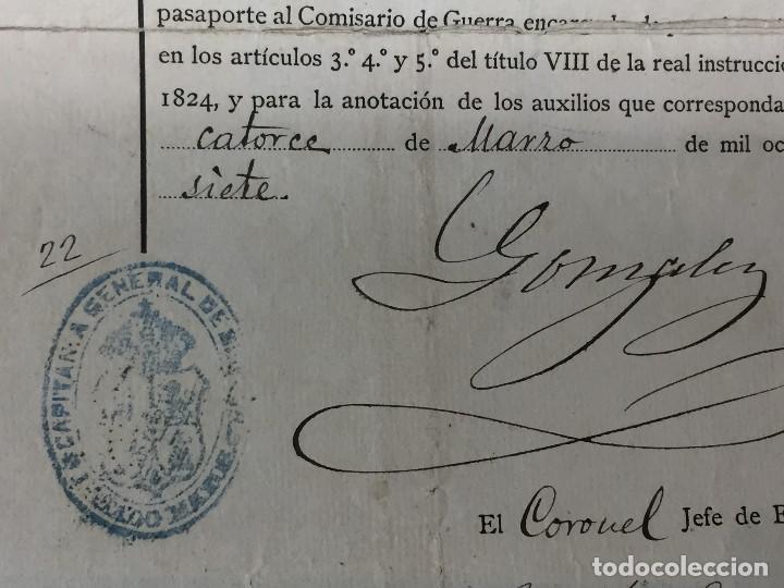 Militaria: capitan general de burgos 1887 pasaporte a sargento 2º batallon reserva santander madrid 29,5x20 - Foto 5 - 158214214