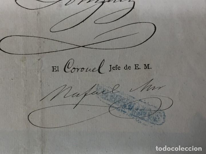 Militaria: capitan general de burgos 1887 pasaporte a sargento 2º batallon reserva santander madrid 29,5x20 - Foto 6 - 158214214