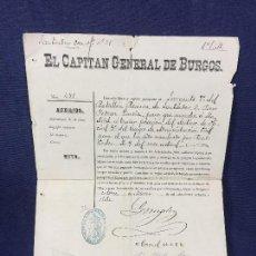 Militaria: CAPITAN GENERAL DE BURGOS 1887 PASAPORTE A SARGENTO 2º BATALLON RESERVA SANTANDER MADRID 29,5X20. Lote 158214214