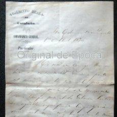 Militaria: (JX-190420)3ª GUERRA CARLISTA,EJERCITO REAL DE CATALUÑA,FIRMADO GENERAL D.RAFAEL TRISTANY,AÑO1874.. Lote 158842082