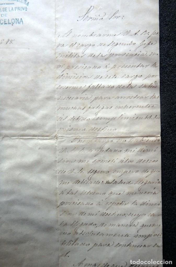 Militaria: (JX-190427)Documento 3ª Guerra Carlista,enviada al Infante Jefe de Cataluña,fechada en Ripoll 1873 - Foto 3 - 158882442