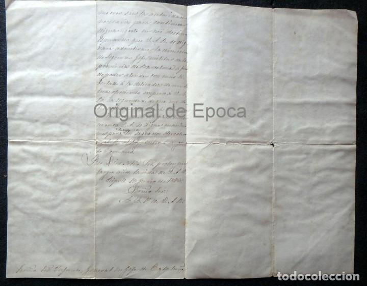 Militaria: (JX-190427)Documento 3ª Guerra Carlista,enviada al Infante Jefe de Cataluña,fechada en Ripoll 1873 - Foto 6 - 158882442