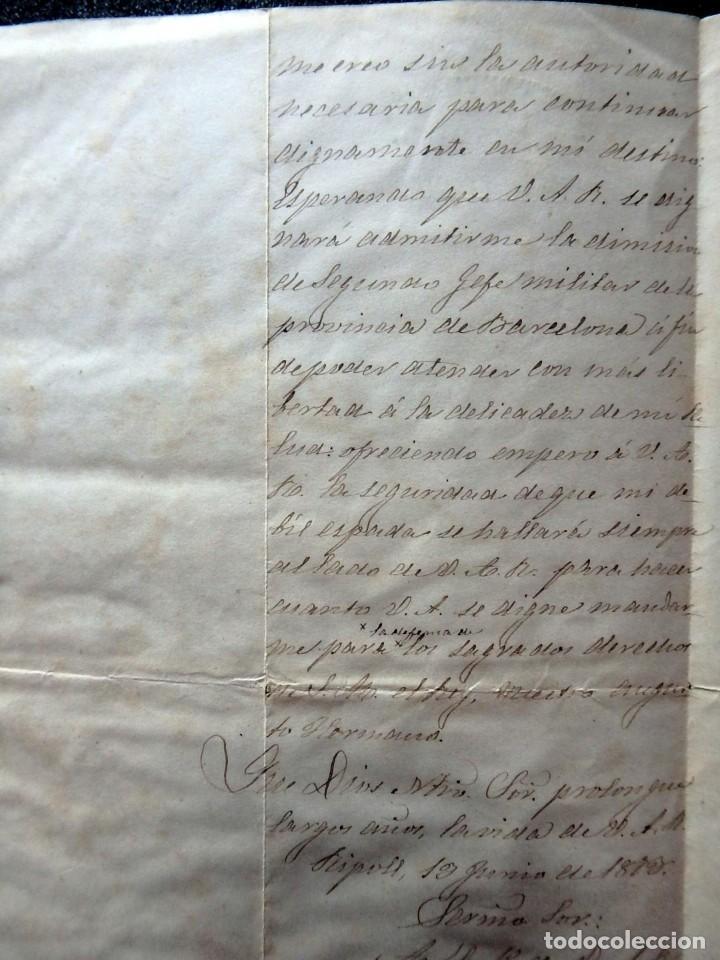 Militaria: (JX-190427)Documento 3ª Guerra Carlista,enviada al Infante Jefe de Cataluña,fechada en Ripoll 1873 - Foto 7 - 158882442