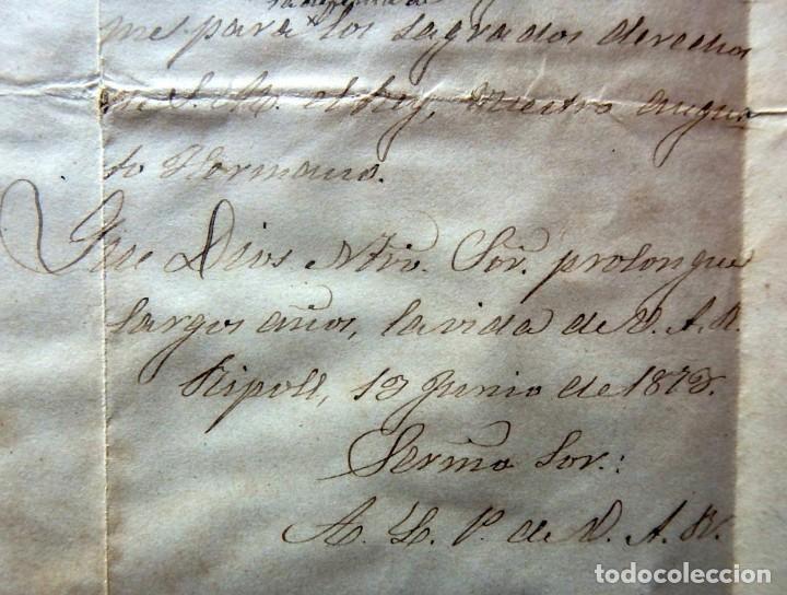 Militaria: (JX-190427)Documento 3ª Guerra Carlista,enviada al Infante Jefe de Cataluña,fechada en Ripoll 1873 - Foto 8 - 158882442
