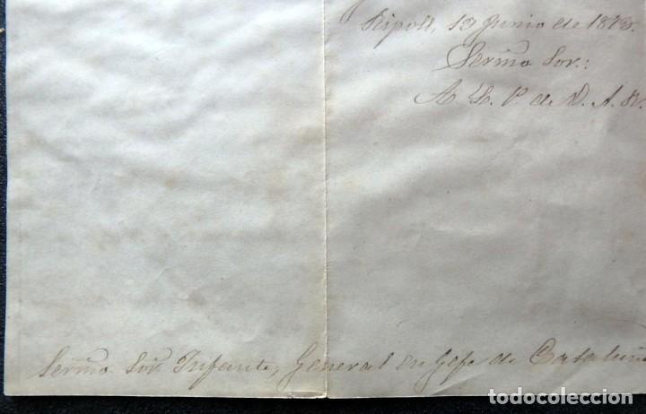 Militaria: (JX-190427)Documento 3ª Guerra Carlista,enviada al Infante Jefe de Cataluña,fechada en Ripoll 1873 - Foto 9 - 158882442