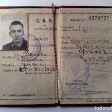 Militaria: CARNET C.N.S.DE BARCELONA,OFICIAL 2,EXPEDIDO 1952,SINDICATO LOCAL METAL,GRUPO AUTOMOVIL. Lote 158894378