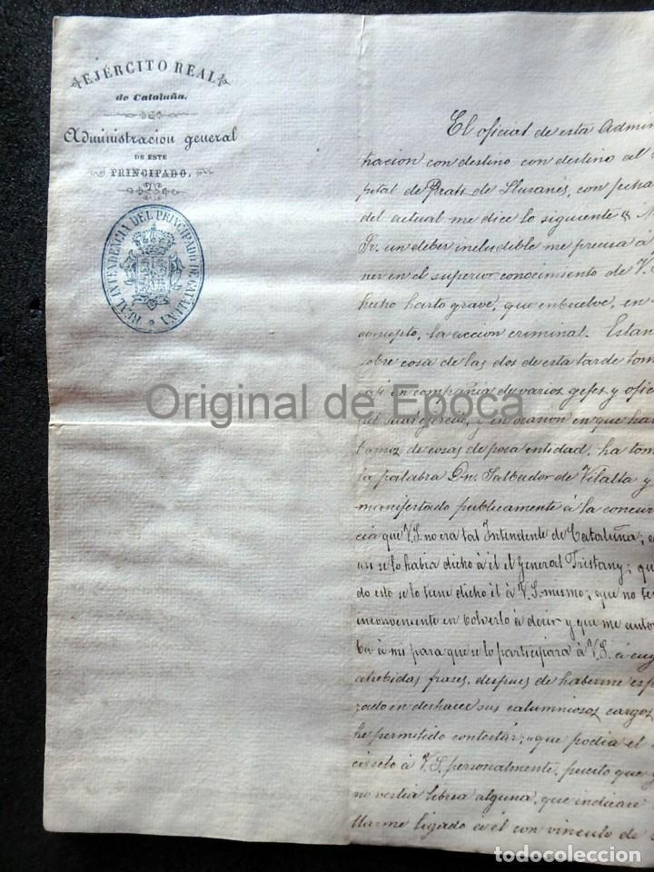 (JX-190435)DOCUMENTO 3ª GUERRA CARLISTA DE D. FRANCISCO SOLA A D.MARTIN MIRET.EJERCITO REAL CATALUÑA (Militar - Propaganda y Documentos)