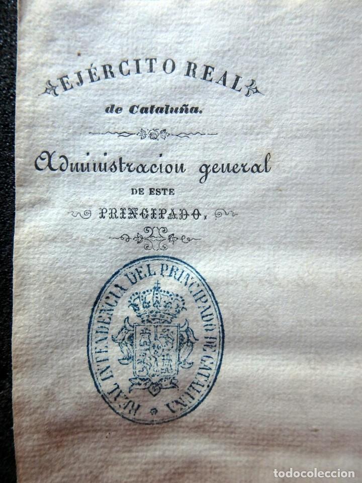 Militaria: (JX-190435)Documento 3ª Guerra Carlista de D. francisco Sola a D.Martin Miret.Ejercito Real Cataluña - Foto 2 - 158936546
