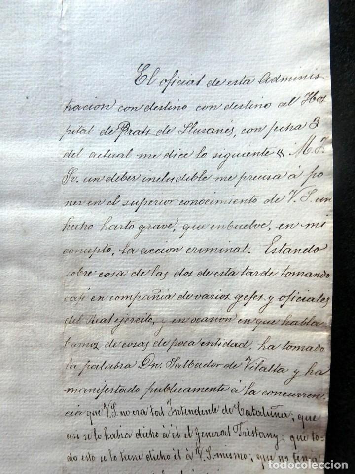 Militaria: (JX-190435)Documento 3ª Guerra Carlista de D. francisco Sola a D.Martin Miret.Ejercito Real Cataluña - Foto 3 - 158936546