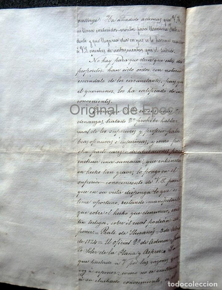 Militaria: (JX-190435)Documento 3ª Guerra Carlista de D. francisco Sola a D.Martin Miret.Ejercito Real Cataluña - Foto 5 - 158936546