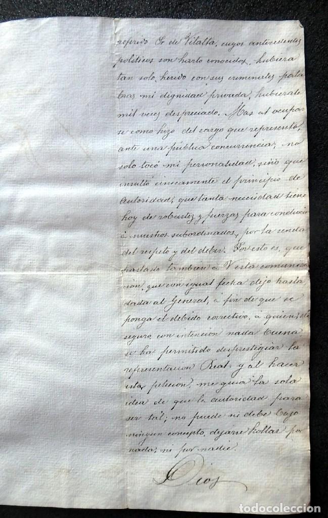 Militaria: (JX-190435)Documento 3ª Guerra Carlista de D. francisco Sola a D.Martin Miret.Ejercito Real Cataluña - Foto 6 - 158936546