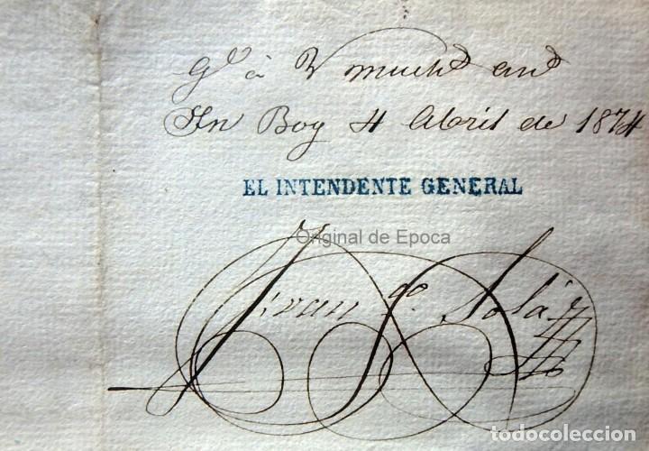 Militaria: (JX-190435)Documento 3ª Guerra Carlista de D. francisco Sola a D.Martin Miret.Ejercito Real Cataluña - Foto 8 - 158936546
